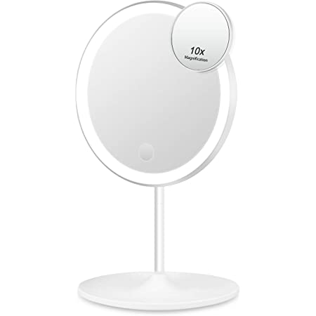 Vanity Mirror with LED Lights, 1X/10X Magnifying Makeup Mirror with Touch Screen and Rechargeable USB, 90°Rotation Cosmetic Portable Detachable Countertop round Tabletop Desk Face Mirror