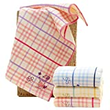 RedsGirl Super Soft Absorbent Cotton Gause Muslin Hand Bath Face Towels for Gym Spa Dry Hair 3 Pack 14'x 29', Embroidery