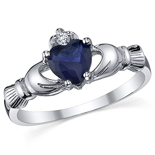 Ultimate Metals Co. Sterling Silver 925 Irish Claddagh Friendship & Love Blue Sapphire Heart CZ Ring Size Q