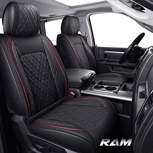 Yiertai Car Seat Covers Full Set Ram Fit 2009-2021 1500 2010-2021 2500 3500 Pickup Truck Crew Double Quad Cab Classic Waterproof Leather Laramie Big Long Horn Rebel Tradesman(Full Set, Black-Red)