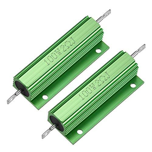 sourcing map 2 Stück Aluminiumgehäuse Widerstand 100W 2 Ohm Draht für LED Ersatz Konverter DE de