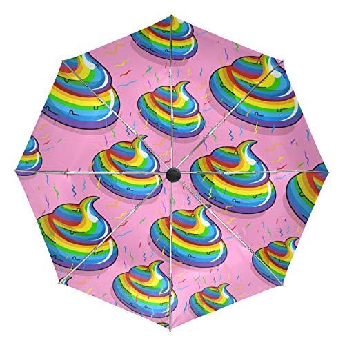 Lustiger Cartoon-Kot-Kot-Muster, kompakter Reiseschirm, Outdoor-Regensonne, Auto, faltbar, wendbar, winddicht, verstärkter Schirm, UV-Schutz, ergonomischer Griff, automatisches Öffnen/Schließen