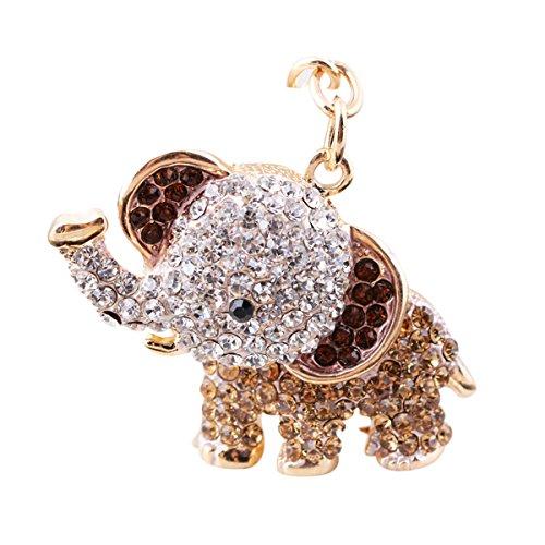 WINOMO Elefanten Schlüsselanhänger Handtaschen Deko (Hell Kaffee)