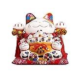 ZNZN Huchas Cerámica Blanca del Gato Lucky, Exquisita Porcelana utilizadas for la Ceremonia de Apertura de residencia o, Monedas de Billetes con Dos Campanas, Feng Shui Decoración Alcancía