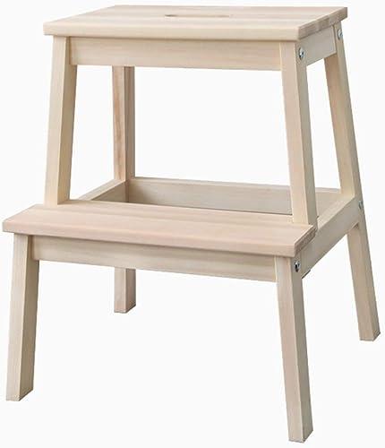 DNSJB échelle Chaise Tabouret Solide étagère en Bois Sièges Stands 2 étapes Mobilier à Usage Double Usage 50x40x24cm (Couleur   bois Couleur)
