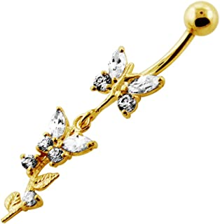 Gold Plated Clear CZ Stone Twin Butterfly 925 Sterling Silver Belly Button Ring