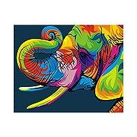 数字で描く、DIYアクリル油絵キット 大人の子供向け初心者向け、キャンバスにペイントブラシでペイントワークを描く16x20インチフレームレス-塗られた象