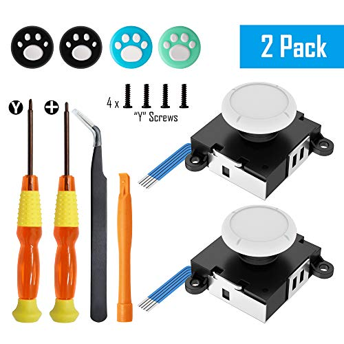 Replacement Joystick Analog Thumbsticks for Switch Joy-Con Controller &Switch Lite (2 Pack), Vanpark Repair Kit Includes Tri-Wing, Philips Screwdriver, Pry Tools & 4 Thumb Caps (Black) (White)
