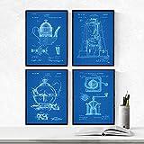 Nacnic Azul - Pack de 4 Láminas con Patentes de CAFETERAS. Set de Posters con inventos y Patentes An...