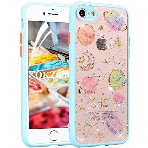 OKZone Funda para iPhone 8 Plus/iPhone 7 Plus (5,5 Pulgadas), [Serie Borde de Color] Transparente Cárcasa Brilla Glitter Brillante TPU Silicona Teléfono Smartphone Funda Móvil Case (Azul)
