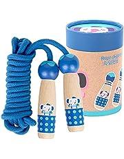 ZoneYan Hopprep för barn, hopprep tecknat för barn, barnhopprep med trähandtag, bomull hopprep barn, justerbara hopprep för barn/män/kvinnor 2,9 m