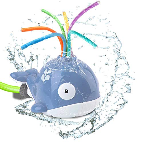 ZXYWW Water Sprinkler Toy for Kids Outdoor, Backyard Summer Swirl Spinning Splash Spray Whale, Water Play Sprays Up to 8Ft High