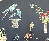 Papageien und Roses Black Fabric Birds Perroquet bedruckt,