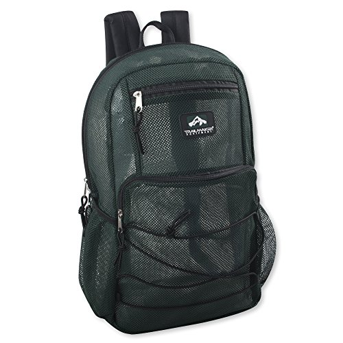 Collapsing Deluxe Mesh Backpack, Trailmaker Mesh Backpack with Bungee Cord & Adjustable Padded Straps (Green)