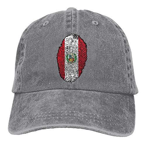 Preisvergleich Produktbild AOHOT Herren Damen Baseball Caps, Hüte,  Mützen,  Classic Baseball Cap,  Unisex Baseball Cap Denim Hat Peru Flag Fingerprint Adjustable Snapback Sunbonnet