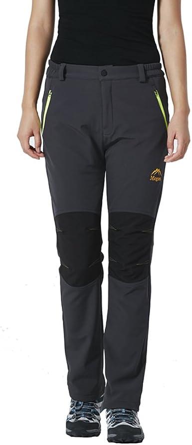 emansmoer Pantalones Softshell con forro Polar, resistente al viento, impermeable, para deportes, camping, senderismo, escalada, para Mujer