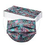 YpingLonk 20PC Unisex Adulto Protector Bufanda - Moda Universal Lindo Boho impresión 3 Capas Suave elástico Earloop Bufanda para Mujeres Hombres -21203-3