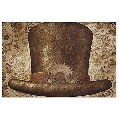 Steampunk Top Hat As A Science Fiction Concept - Felpudo de metal y cobre, duradero, antideslizante, de perfil bajo, para entrada, absorbente, alfombrilla de bienvenida para interiores