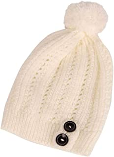 a003132b22f URIBAKE ❤ Women's Button Beanies Slouchy Knitted Hip Hop Hair Ball Winter  Warm Ski Solid Hat