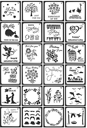 Juuly 24 Stück Schablonen Muster,Stilvolle Schablonen für Scrapbooking Fotoalbum Vorlagen zum Verzieren und Verschönern von Grußkarten, Tagebüchern, usw