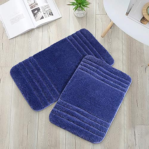 COSY HOMEER 30x18 Inch/24X17 Inch Bath Rugs 2pcs Set Made of 100% Polyester Extra Soft and Non Slip Bathroom Mats Specialized in Machine Washable and Water Absorbent Shower Mat (Navy)