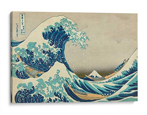 Cuadro decorativo de canvas (lienzo), La gran ola - Katsushika Hokusai - Arte famoso & Playas y mares, montado en bastidor de madera de 4.5 cm de profundidad (estilo galería). 180 x 120 cm. Tamaños adicionales disponibles. Perfecto para decorar casa u oficina, y especial para Sala & Dormitorio & Baño & Oficina. 100% Garantizado.