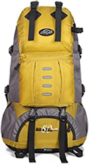 SP-Xhz Multifunctional Waterproof Leisure Camping Hiking Backpack Riding Trip Hiking Mountaineering Outdoor Sports (Color : Yellow, Size : 60 * 30 * 25cm)