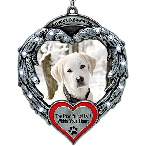 BANBERRY DESIGNS Pet Memorial Photo Ornament – Always Remember The Paw Prints I Left Within Your Heart - Angel Wings Picture Christmas Ornament – Pet Sympathy Gifts – Keepsake Loss of a Pet Ornament