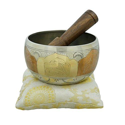 Ajuny Hermoso cuenco tibetano budista viene en palo y cojín, ideal para meditaciones y sanación sonora de 4 pulgadas