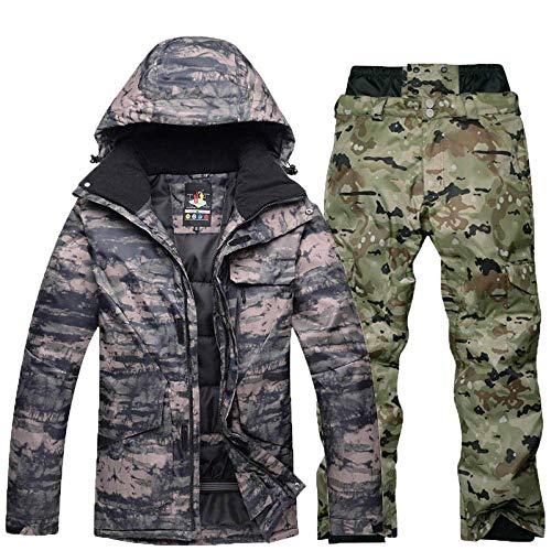 Camouflage Starke warme Herren, Ski-Anzug Anzug Wind- und Winddicht Ski Snowboard-Jacke Hosen-Anzug Herren Winter Schnee Anzug ZZAY (Color : Lavender, Size : S)