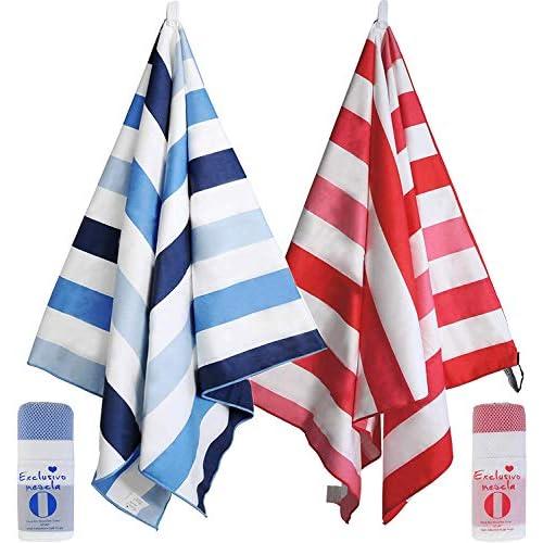 Exclusivo Mezcla - Asciugamano da spiaggia in microfibra, misura grande, per sport e nuoto, per adulti e bambini, 76,2 x 152,4 cm, ad asciugatura rapida e leggero, confezione da 2