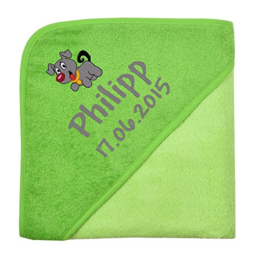 Wolimbo Kapuzenbadetuch mit Ihrem Wunsch-Namen und Wunsch-Motiv - Format: 100x100cm - Das individuelle und kuschelig weiche Badehandtuch für Mädchen und Jungs - Farbe: grün - Wählen Sie Ihr Wunsch-Motiv
