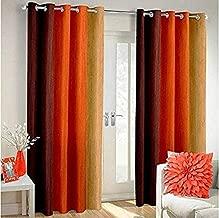 Shree Ram Decor Polyester Blend Long Crush Eyelet Window 5 ft Curtains (Orange) Set of 2