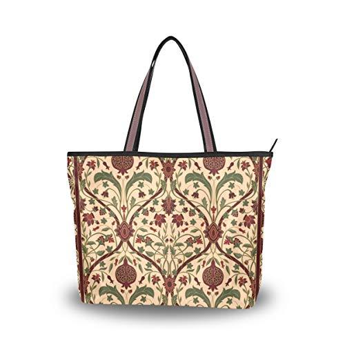 JSTEL Women Large Tote Top Handle Shoulder Bags Oriental Floral Patern Ladies Handbag