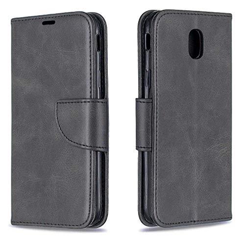 GIMTON Hülle für Galaxy J5 2017, Kratzfestes PU Leder mit Magnetisch Verschluss und Kartenfach für Samsung Galaxy J5 2017, Hochwertige Brieftasche Tasche, Schwarz