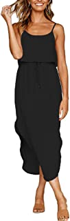 Women's Casual Adjustable Spaghetti Straps Sleeveless Sundress Split Beach Midi Dress