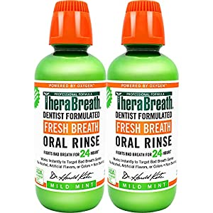 TheraBreath Fresh Breath, 24 Hour Dentist Formulated Oral Rinse, Mild Mint, 16 Oz (Pack of 2) from Therabreath