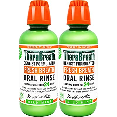 TheraBreath Fresh Breath Dentist Formulated 24-Hour Oral Rinse, Mild Mint, 16 Ounce (Pack of 2) from Therabreath