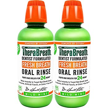 TheraBreath Fresh Breath Dentist Formulated 24-Hour Oral Rinse Mild Mint 16 Ounce  Pack of 2