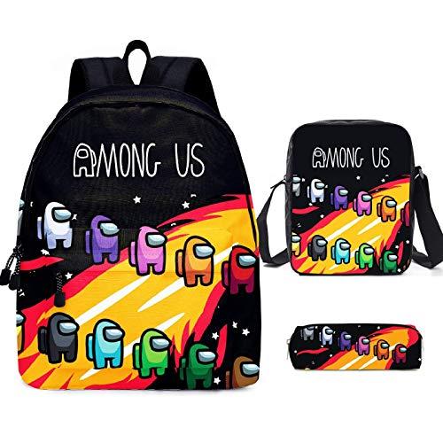 ZBK Juego de mochila escolar con diseño de Game AMONG US, mochila para portátil con bolsa de hombro y estuche para lápices para niños y niñas, 9 colores