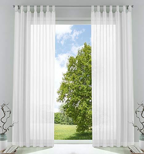 2er-Pack Gardinen Transparent Vorhang Set Wohnzimmer Voile Schlaufenschal mit Bleibandabschluß HxB 225x140 cm Weiß, 61000CN