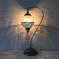 WCD ルームアイアンアイスクラックスワンテーブルランプ中空パターンガラスクリスタルクリエイティブテーブルランプ/エントリー/オフィスメタルテーブルランプ照明ランプ5WLEDベッド