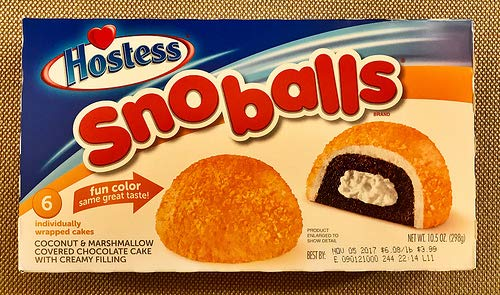 Hostess SNO-Balls - 298g (6 Cakes) Snowballs - Fun Orange Colour Same Great Taste …