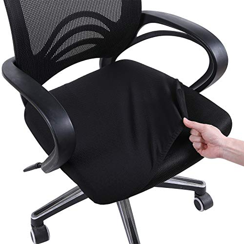 smiry Stretch Chair Seat Covers for Office, Black 1PC Jacquard Office Chair Slipcovers