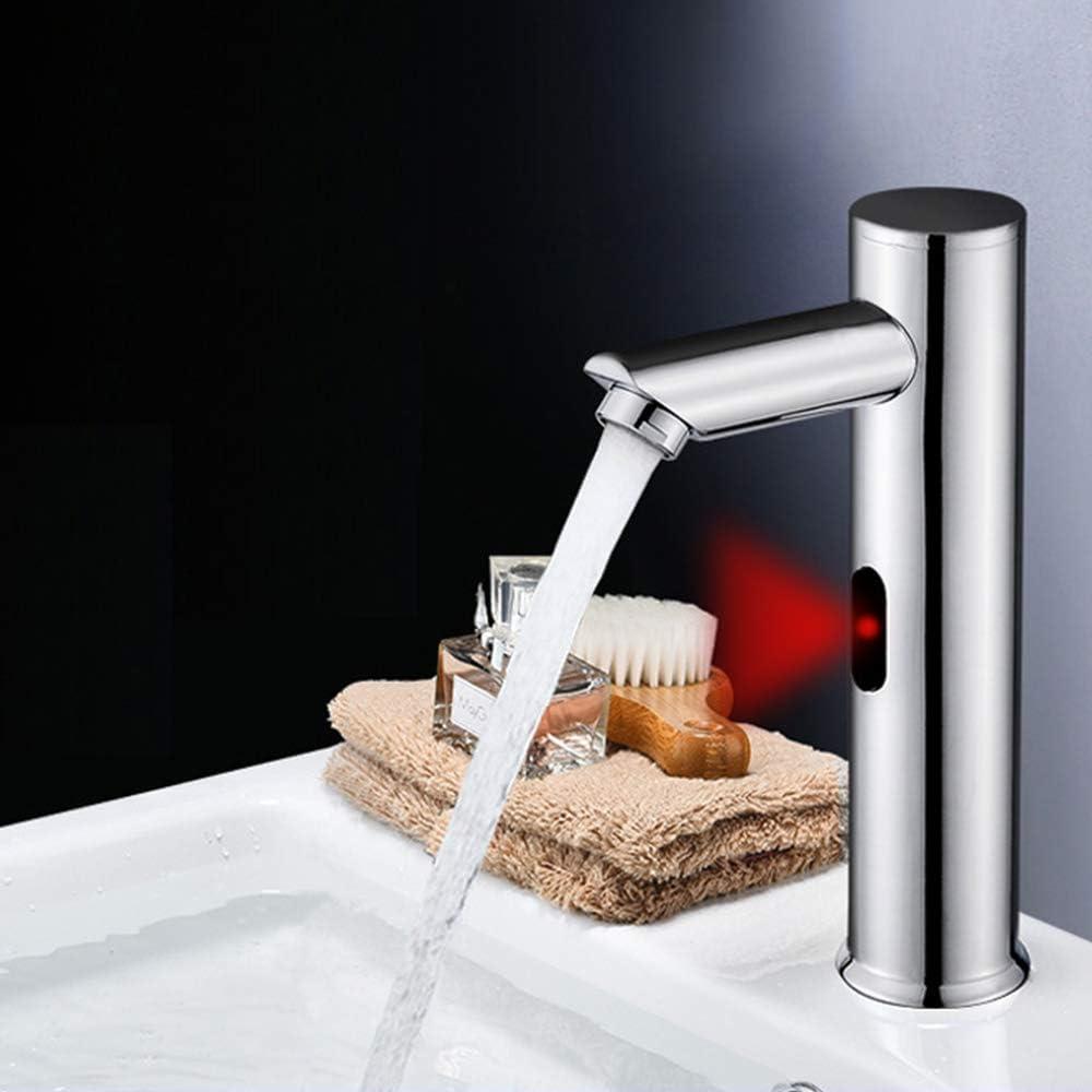 ENCOFT Grifo de Agua Automático con Sensor de Infrarrojos, Sin-contacto Grifo Batería Agua Fría para Lavabo Baño Grifo Touchless (Vertical-20cm)