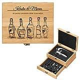 Maverton Weinöffner-Set personalisiert Weinset Sommelier Set - Geschenkbox Holzbox + 8er Weinzubehörset - aus Bambus - Braun - Geschenk Hochzeit Hochzeitstag Paar - Liebe zum Wein
