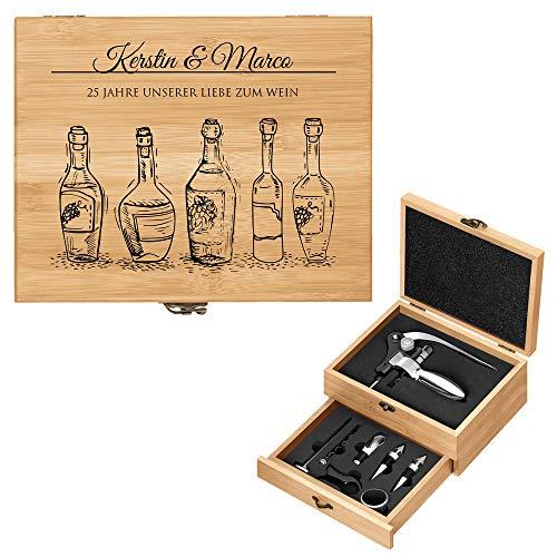 Murrano Weinöffner-Set personalisiert Weinset Sommelier Set - Geschenkbox Holzbox + 8er Weinzubehörset - aus Bambus - Braun - Geschenk Hochzeit Hochzeitstag Paar - Liebe zum Wein