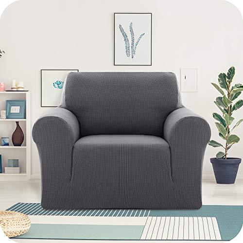 UMI. by Amazon SofaüberwurfStretch Sofaüberzug Jacquard Couchüberwurf Sofabezug Sofahusse Party Indoor 1-Sitzer Grau