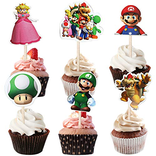 WENTS Super Mario BROSS-Kuchen-Toppers Cupcake Toppers für Kinder Baby Party Geburtstag Party Kuchen Dekoration Supplies 72 Stück