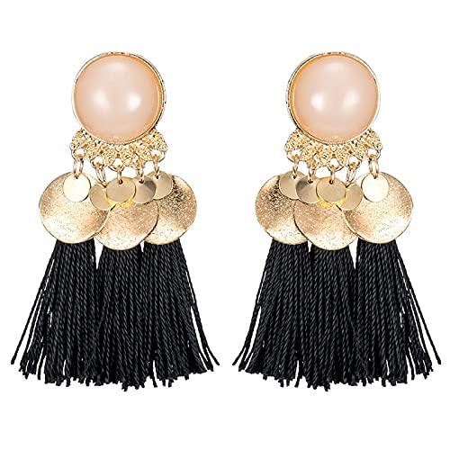 FEARRIN Pendientes Pendientes de Borla Bohemios Redondos inusuales de Moda para Mujer Colgante de Tela de 7 Colores Pendiente Colgante Declaración de Tela Joyería étnica E435-5